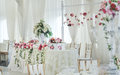 Wedding decoration on table. Royalty Free Stock Photo