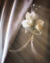 Wedding decorations boquet with birds rings Royalty Free Stock Image