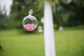 Wedding decorations hanging in gauze on a small glass bottle Royalty Free Stock Image