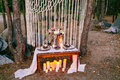 Wedding decorations in rustic style. Outing ceremony. Wedding in nature. Royalty Free Stock Photo