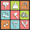 Wedding design flat icons for web and mobile vector set of items Royalty Free Stock Image