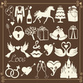 Wedding design flat icons for web and mobile vector set of items in retro style Stock Images