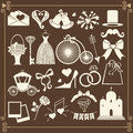 Wedding design icons for web and mobile vector set of items in retro style Stock Photo
