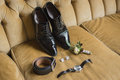 Wedding details. Groom accessories. Shoes, cufflinks, belt, watc