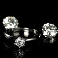 Wedding diamond ring on black background Stock Image