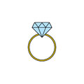 Wedding diamond ring solid icon, engagement ring Royalty Free Stock Photo