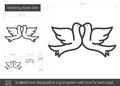 Wedding doves line icon.