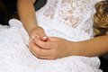 Wedding dress brides hands Royalty Free Stock Photography
