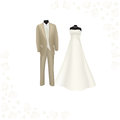 Wedding dress and brown men's suit