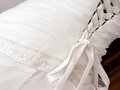 Wedding dress detail white with lace Stock Image