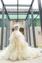 Wedding dress on display perpared for the bride Royalty Free Stock Images