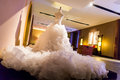 Wedding dress on display perpared for the bride Stock Photo