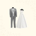 Wedding dress and gray men's suit
