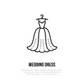 Wedding dress on hanger icon, clothing shop line logo. Flat sign for apparel collection. Logotype for laundry, clothes Royalty Free Stock Photo