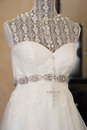 Wedding dress on a mannequin stand Royalty Free Stock Photography