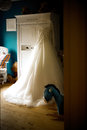 Wedding dress in nursery prepared for Royalty Free Stock Photography