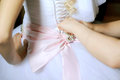 Wedding Dress Preparation Stock Photo