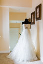 Wedding dress in the room Stock Photo