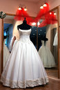Wedding dress in shop window Royalty Free Stock Photo