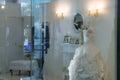 Wedding dress in window display . Royalty Free Stock Photo