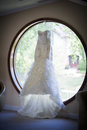 Wedding Dress in Window Royalty Free Stock Photo