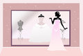 Wedding dresses shop of illustration Royalty Free Stock Photos
