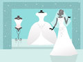 Wedding dresses shop of illustration Royalty Free Stock Image