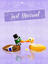 Wedding of ducks illustration Stock Images