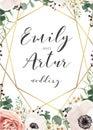 Wedding elegant invite invitation, save the date card design wit