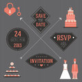 Wedding elements with a cake vector for invitations Royalty Free Stock Photo