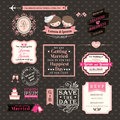 Wedding elements labels and frames vintage style vector clipart Royalty Free Stock Photography