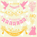 Wedding elements set of beautiful for design Royalty Free Stock Photography