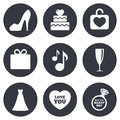 Wedding, engagement icons. Cake, gift box Royalty Free Stock Photo