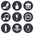 Wedding, engagement icons. Ring with diamond Royalty Free Stock Photo