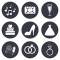 Wedding, engagement icons. Vow love letter Royalty Free Stock Photo