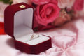 Wedding engagement ring inside an elegant case box Royalty Free Stock Photo
