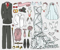 Wedding fashion.Doodle bride,groom dress,clothing set
