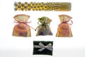 Wedding favor bags containing sugar-coated almonds , dates gift Royalty Free Stock Photo