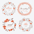 Wedding floral frames in cartoon style Royalty Free Stock Images