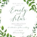 Wedding floral greenery invitation, invite, save the date card v