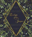 Wedding floral invite card. Vector watercolor green forest leaf, fern, branches boxwood, buxus, eucalyptus, brunia. Rhomb,