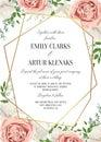 Wedding floral invite, invtation card design. Watercolor blush p