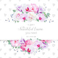Wedding floral vector design horizontal card. Pink and white peony, purple orchid, hydrangea, violet campanula flowers frame
