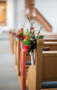 Wedding flower pew beautiful arrangement Stock Photography