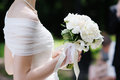 Wedding flowers bouquet bride holding Stock Image