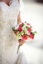 Wedding flowers bridal bouquet of in hands of the bride Royalty Free Stock Photos