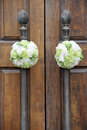 Wedding  flowers on the church door Stock Image