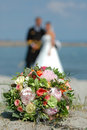 Wedding flowers and couple Stock Photos