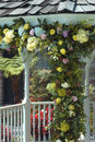 Wedding flowers on gazebo Stock Images
