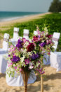 Wedding flowers outdoor venue set up Stock Photo